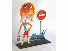 Christophe JEHAN, né en 1961 La promenade du toutou Sculpture signée Hauteur : 31 cm