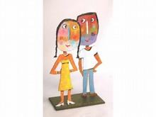 Christophe JEHAN, né en 1961 Le couple Sculpture signée 33 x 22