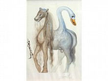 * Salvador DALI 1904-1989   Animal fantastique  Lithographie signée en bas à droite  64 x 49