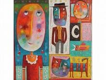 Christophe JEHAN, né en 1961 La Vie Huile sur toile signée au milieu 80 x 80