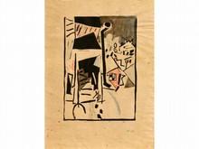 Jean POUGNY 1892-1956  La ville  Linogravure, plume et crayon de couleur, signée du cachet en bas à droite  45 x 33