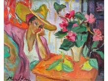 * Olga MISCHKINE 1910-1985  Chapeau et fleurs  Huile sur toile signée en bas à gauche   38 x 46