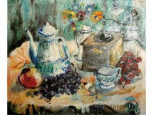 Yvon GRAC, né en 1945   Nature morte à la cafetière   Huile sur toile signée en bas à droite   54 x 65