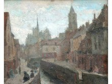 Raymond TELLIER 1897-1985  Les Quais  Huile sur toile signée en bas à droite  32 x 44