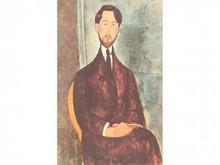 Amédéo MODIGLIANI 1884-1920  Homme assis sur une chaise   Estampe signée en haut à droite  13,5 x 8,5