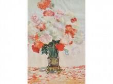 Claude MONET 1840-1926  Bouquet de fleurs dans un vase  Estampe signée en bas à droite  25,5 x 18