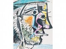 D'après Pablo PICASSO 1881-1973  Tête d'homme abstraite fumant une cigarette  Estampe   13,5 x 10,5