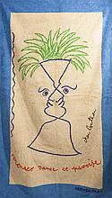 HERMES Paris *Drap de plage en coton éponge imprimé titré
