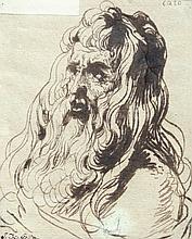 Tête d'homme barbu Plume et encre brune