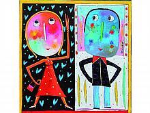 Christophe JEHAN, né en 1961 Le rendez-vous Acrylique sur toile signée à droite au centre 80 x 80