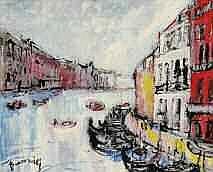 Mario BONAMICI né en 1912 venise huile sur panneau