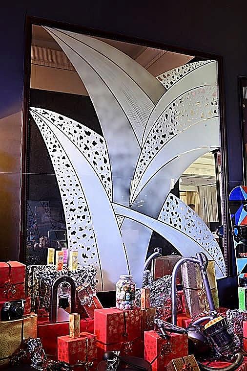 Miroir art d co sabl en l tat hauteur 320 cm largeur 2 for Miroir hauteur 200