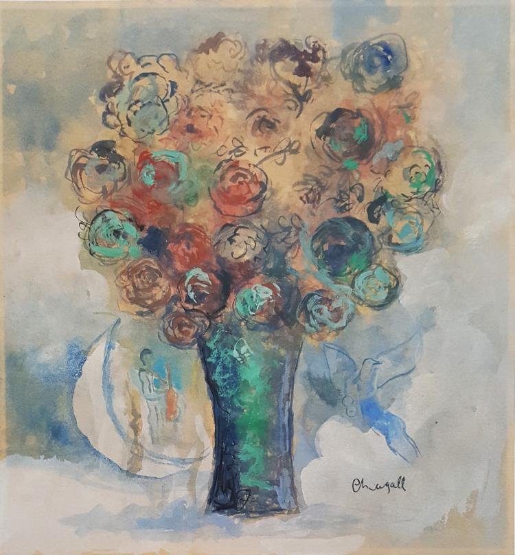 Marc chagall gouache on paper signed painting for Fine art paintings for sale online
