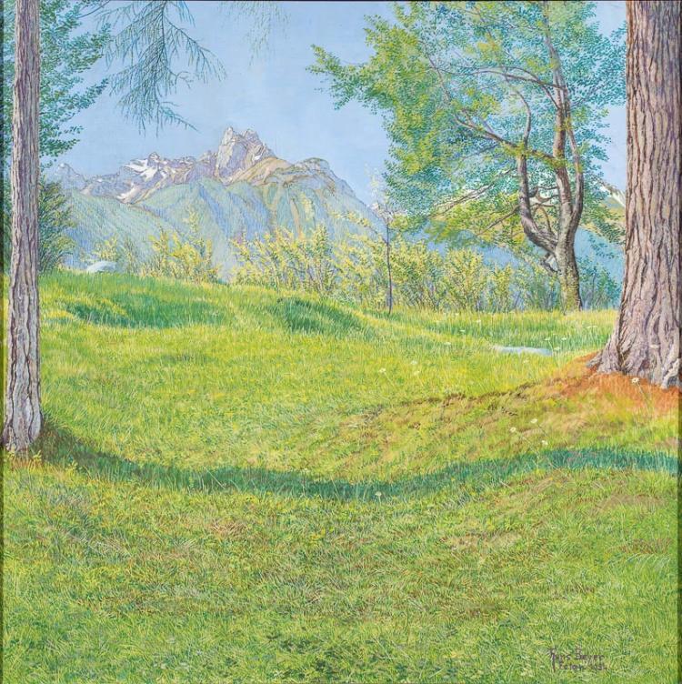 Hans Walter Beyer (1878–1963)  Berglandschaft mit grüner Wiese bei Ftan