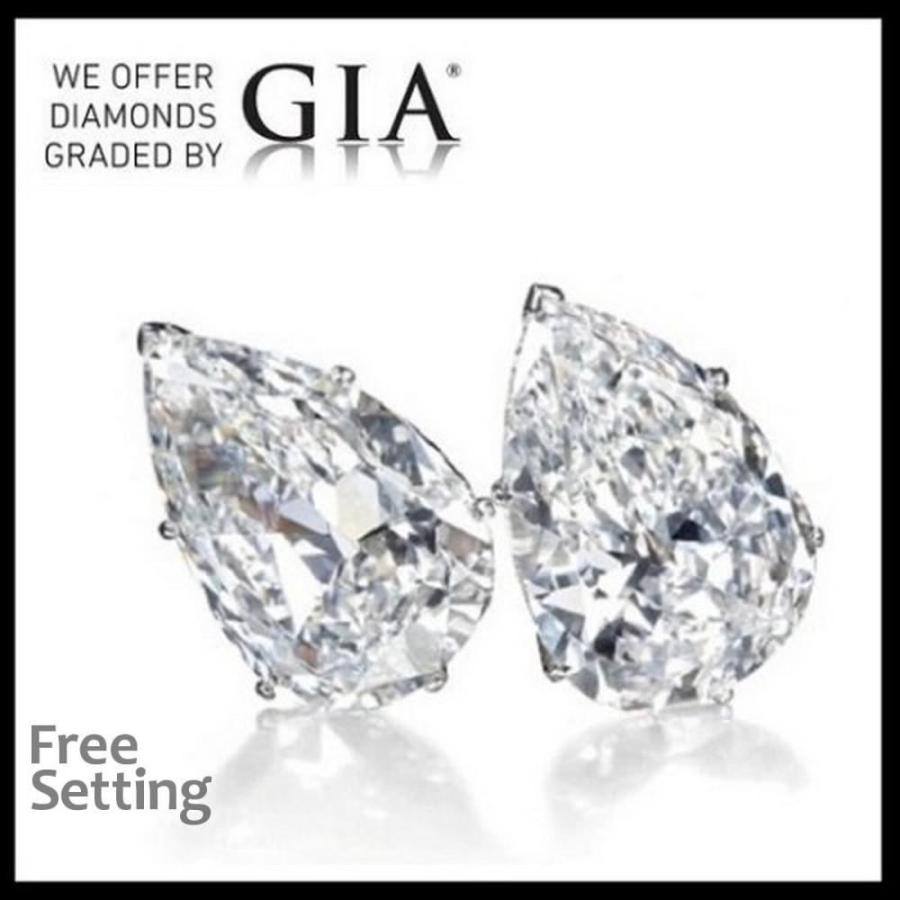 2.02 carat diamond pair Pear cut Diamond GIA Graded 1) 1.00 ct, Color F, VVS1 2) 1.02 ct, Color F, VVS1. Unmounted. Appraised Value: $34,300