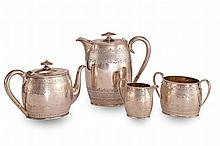 A FOUR PIECE SILVER TEA SERVICE
