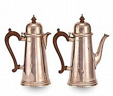 A GEORGIAN STYLE SILVER COFFEE & TEA POT
