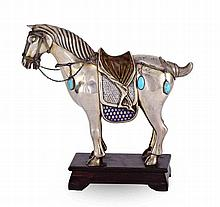 A CONTINENTAL SILVER & ENAMEL HORSE