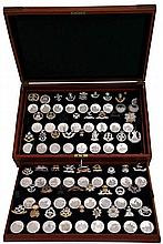 GREAT BRITISH REGIMENTS 52 HALLMARKED SILVER MEDALS & INSIGNIA SET