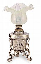 A CONTINENTAL SILVER TABLE LAMP
