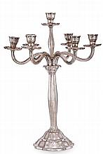 A GEORGIAN STERLING SILVER SEVEN LIGHT CANDELABRA