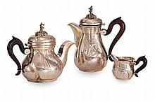 A THREE PIECE SILVER TEA SERVICE