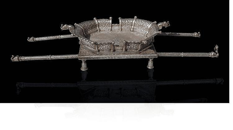 A magnificent Indian silver palanquin