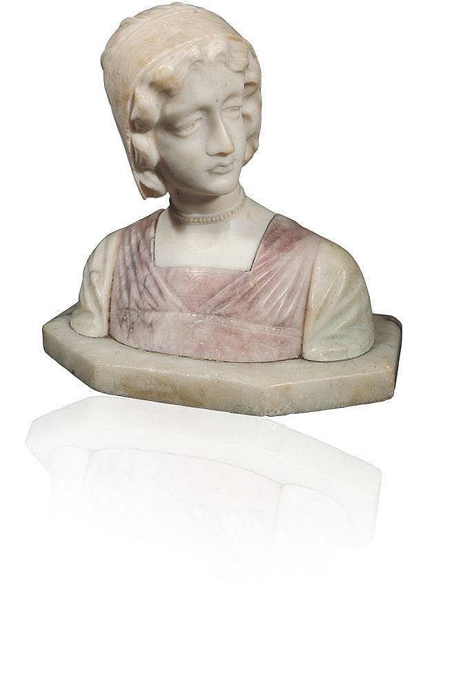 A Victorian marble bust,of a girl on a flat shaped base