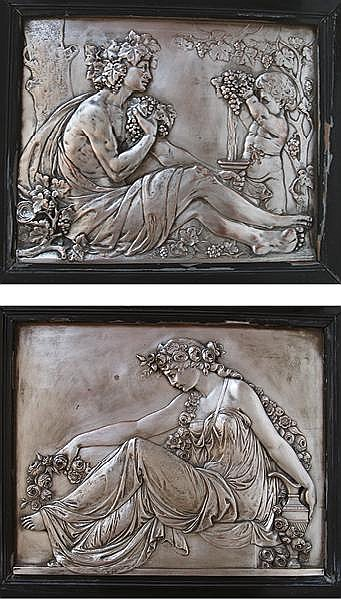 A companion pair of French art nouveau manner bronze plaques