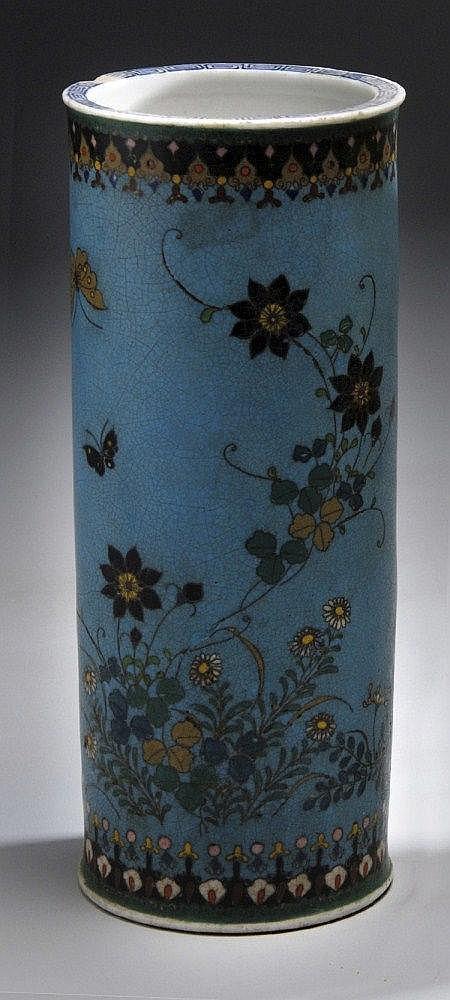 A CLOISONNÉ CYLINDRICAL VASE under glazed with