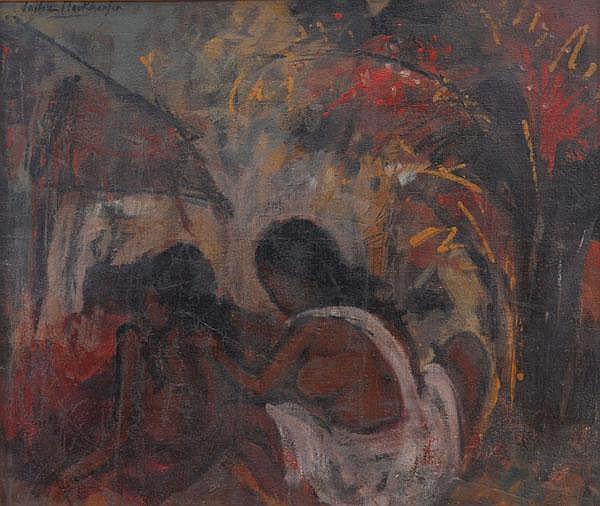 SAILOZ MOOKHERJEA (1907 - 1960) Mother & Child Oil