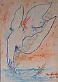 MANU PAREKH (b.1939) Landing Bird Pastel on Paper