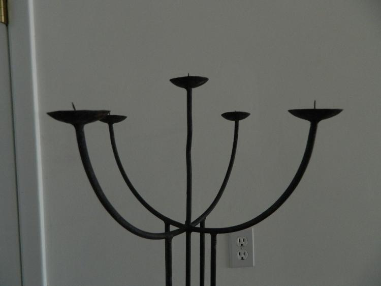 Lot 1: 5 Light Black Wrought Iron Candleabra