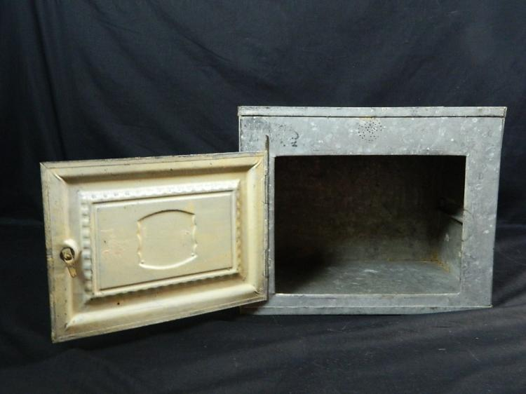"Lot 2: Silver Antique Metal 14"" Bread Box"
