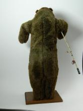 "Lot 4: HUGE 46"" Standing Brown Bear with Fishing Pole"