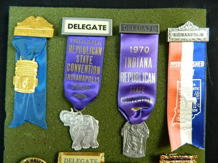 Lot 7: 9 Vintage Political Ribbons & Badge Lot c1926-1970