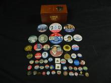 Lot 8: Lot of 30 Political Buttons w/ Wooden Cigar Box