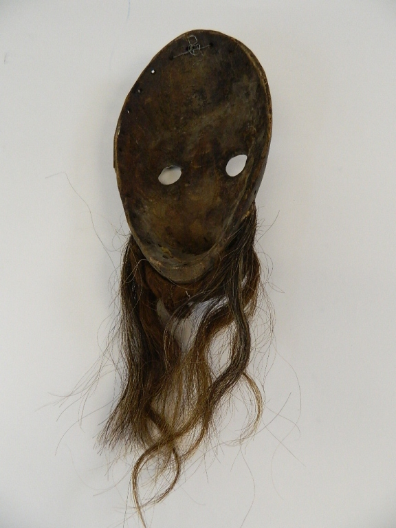 """Lot 21: Silver Metal 14"""" African Art Wood Mask with Hair"""