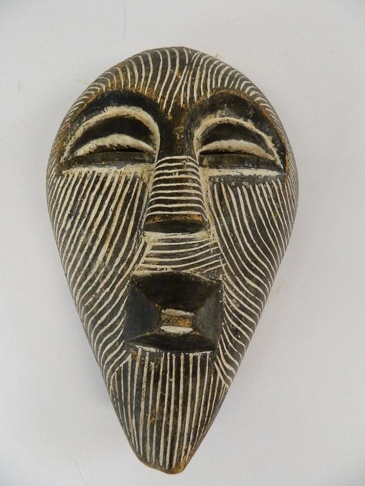 """Lot 22: 16"""" Carved Wood White Earth African Tribal Mask"""