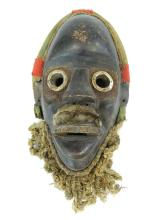 "Lot 25: 11"" African Tribal Mask w/ Green and Red Headband"