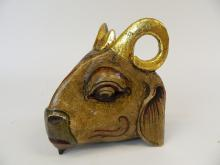 "Lot 34: Child's Indonesian Wooden ""Ram"" Dance Mask"