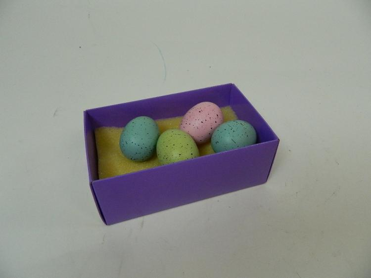Lot 43: Set of 4 Hollow Speckled Pastel Colored Eggs