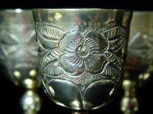 Lot 60: Set of 9 Mexican Silver Cordial Cup Set on Tray
