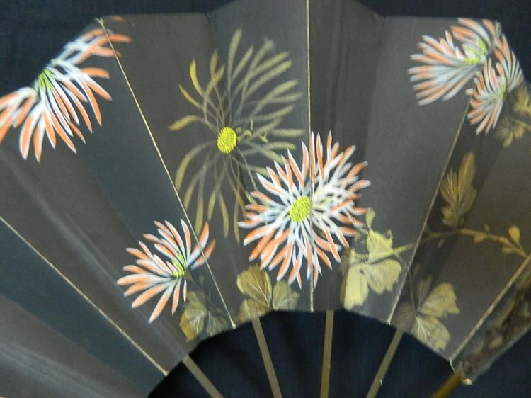 """Lot 62: 13"""" Black Floral Decorated Japanese Fan"""