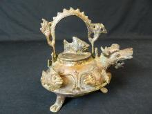 Lot 68: 20th Century Metal Chinese Sea Dragon Tea Pot