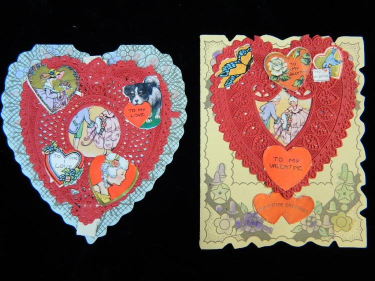 Lot 79: 7 Antique Valentines Day Cards w/ Photo in Heart