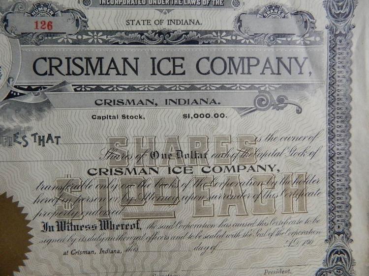 Lot 81: 4 Crisman Ice Company $1.00 Stock Certificates