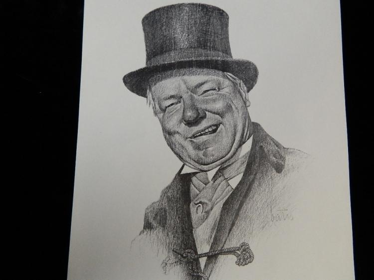 Lot 86: 4 Sketches Charlie Chaplin, Buster Keaton,WC Fields Laurel and Hardy