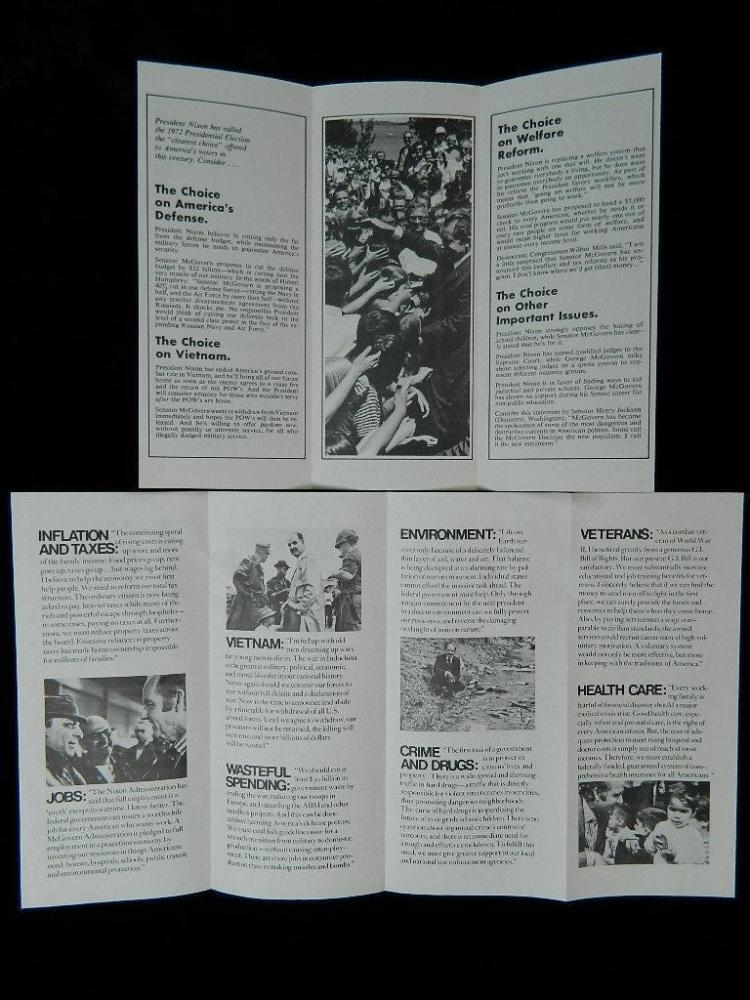 Lot 94: Nixon/Agnew & Mcgovern Bumper Stickers w/ Pamphlet