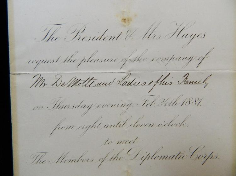 Lot 103: Framed Presidential Invitation from Pres. Hayes
